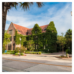 brick buidling on UF campus, links to pages with information on local neighborhoods
